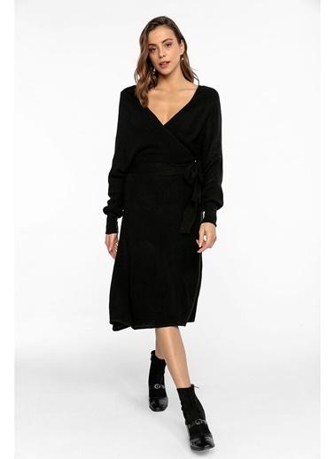 Tiffany&Tomato K20525 Kruvaze Kuşaklı Elbise Siyah